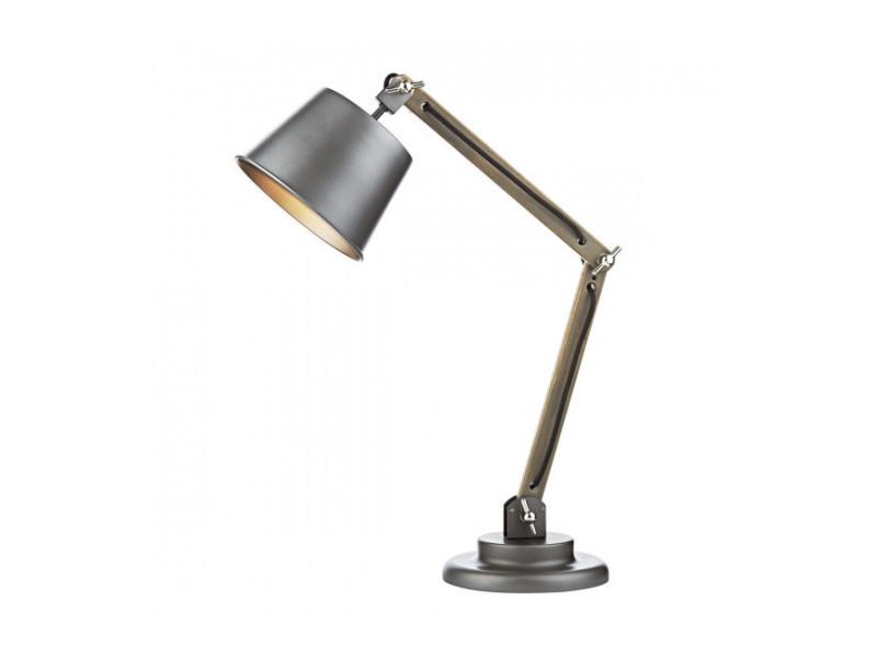 Lampe de table arken gris satiné et bois 1 ampoule