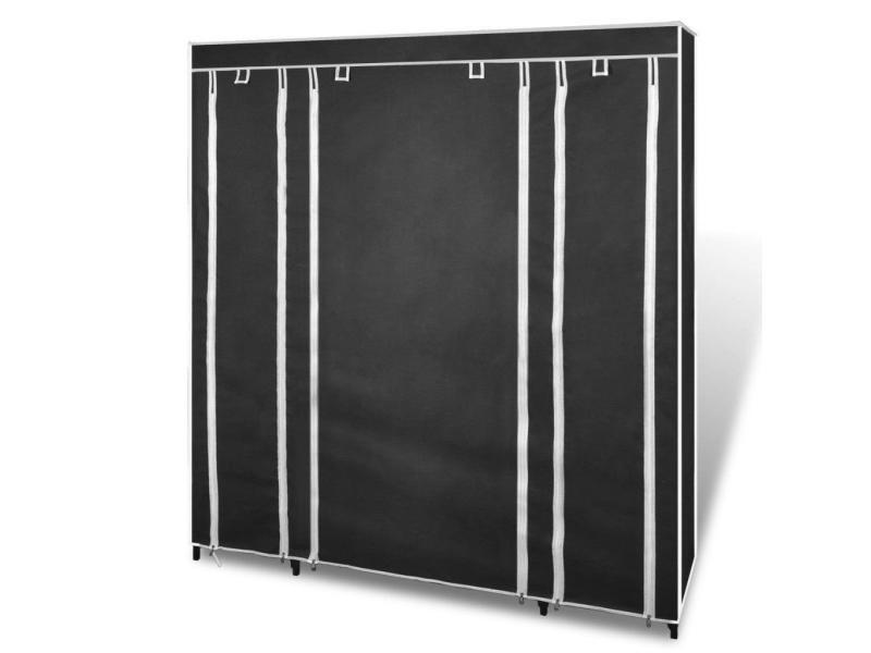 armoires penderie tag re tissu non tiss noir hauteur 180 cm entr e chambre camping 2002006. Black Bedroom Furniture Sets. Home Design Ideas