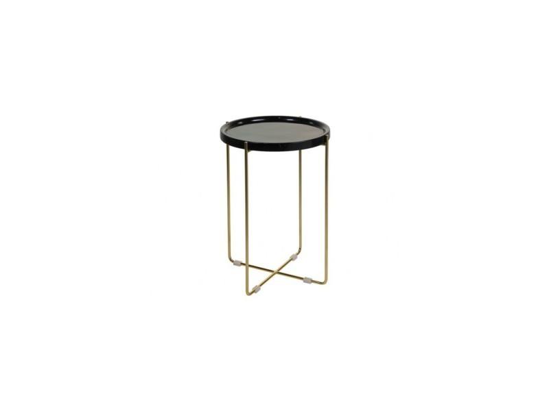 Table d'appoint ronde marbre noir et doré contemporain