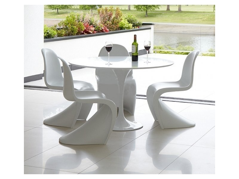 table ronde de repas design tulipe laqu e blanc 90 cm 20100827344 vente de table basse. Black Bedroom Furniture Sets. Home Design Ideas