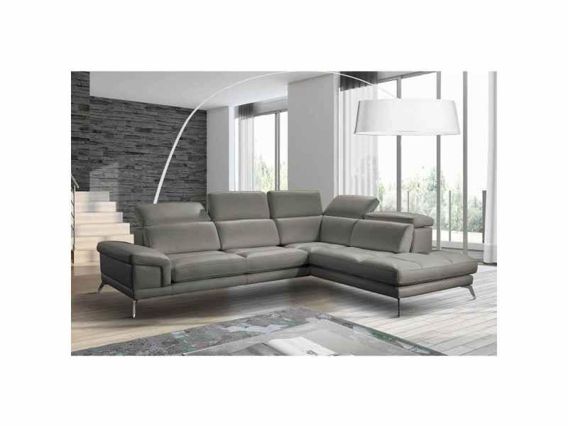 Canapé d'angle gris avec méridienne calista