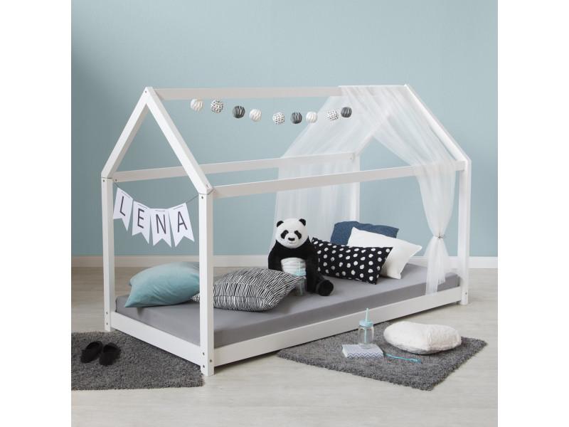 Admirable lit enfant maison 90 x 200 en bois blanc