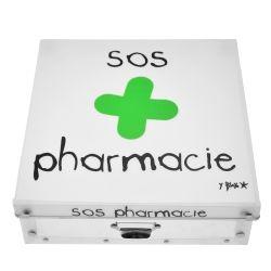Boite de rangement déco en plastique grand modele - sos pharmacie