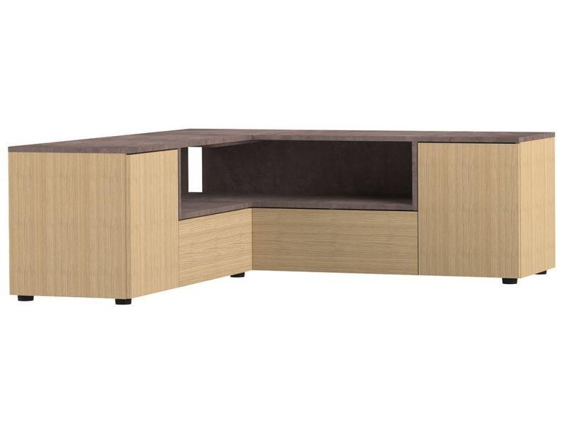 super populaire 31643 2bc36 Meuble tv d'angle design bois et gris béton quadra - Vente ...