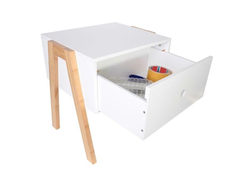 table de chevet scandi anja  l 44 x h 45 cm  blanc