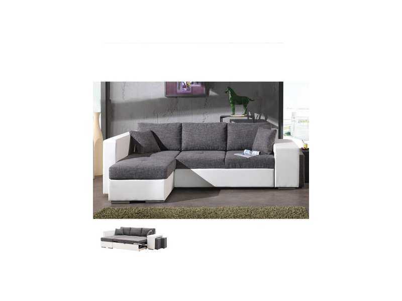 Canapé d'angle à gauche convertible gris et pvc blanc palencia
