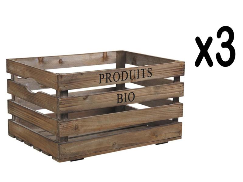 Lot de 3 caisses de rangement en bois vieilli, 40 x 30 x 22 cm -pegane-