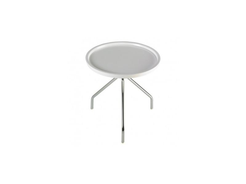 Table d'appoint plateau blanc laqué trépied ufo