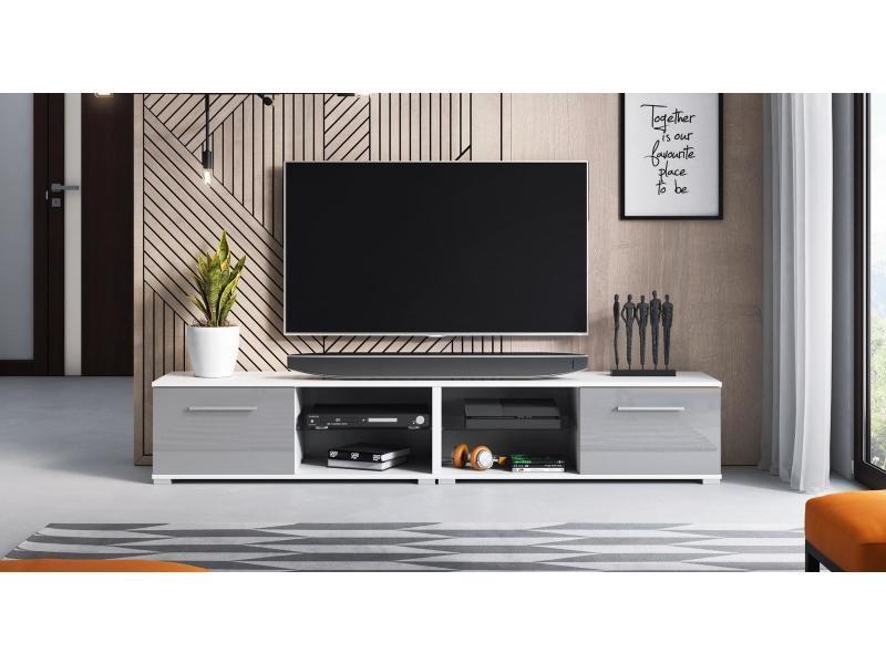 Meuble tv magnum (200 cm) couleur blanc et gris brillant