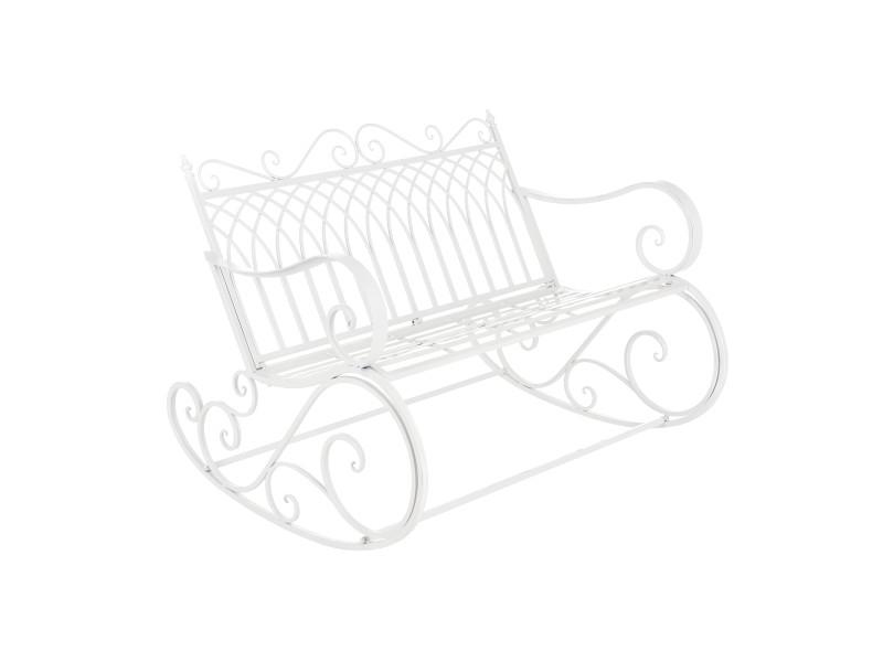 Banc à bascule de jardin vintage robuste meuble design pour usage extérieur pour 2 personnes capacité de charge 200 kg métal 85 x 113 x 95 cm blanc [en.casa]