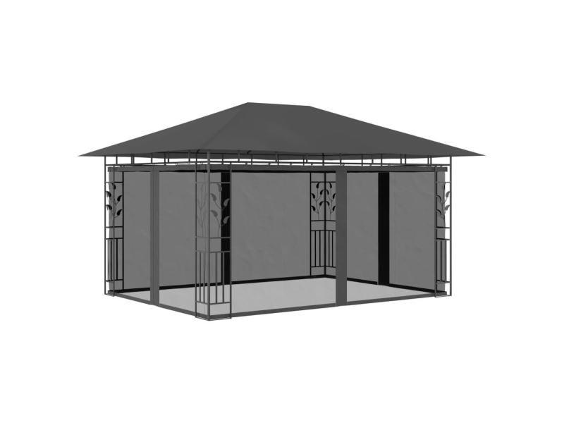 Distingué structures extérieures famille bucarest belvédère avec moustiquaire 4x3x2,73 m anthracite 180 g/m²