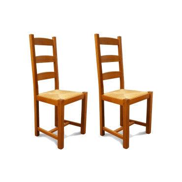 chaises en bois assise paille riga lot de 2 vente. Black Bedroom Furniture Sets. Home Design Ideas