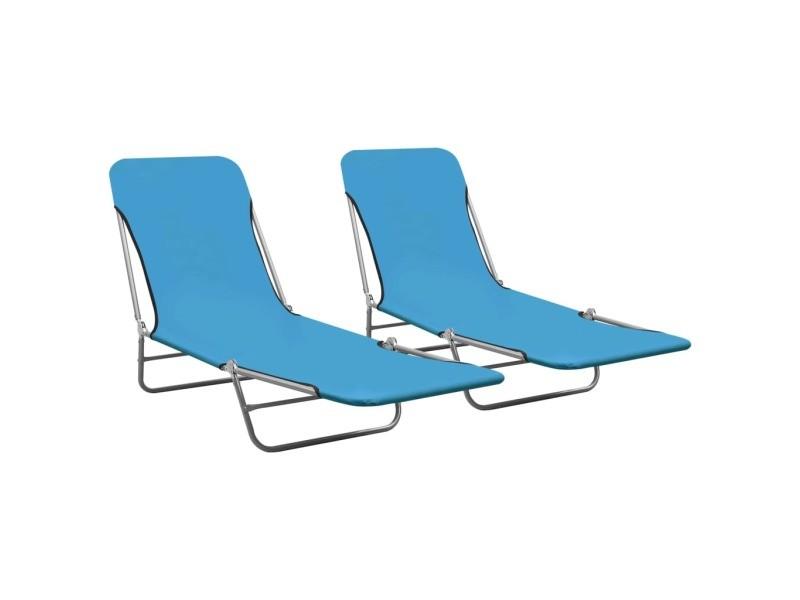 Vidaxl chaises longues pliables 2 pcs acier et tissu bleu 310344