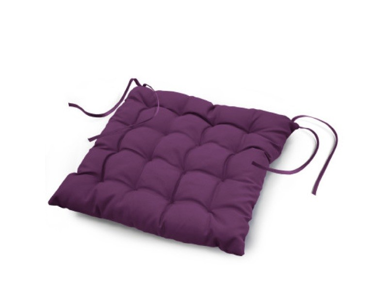 Coussin de chaise assise matelassé 40 x 40 cm prune