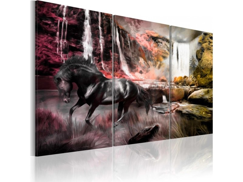 tableau cheval noir la cascade 020116 7 vente de artgeist conforama. Black Bedroom Furniture Sets. Home Design Ideas