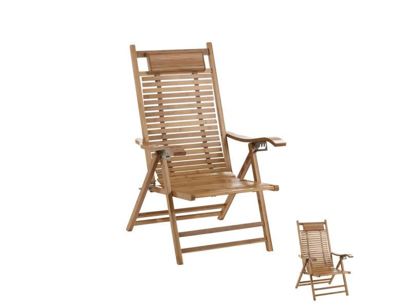 Duo de chaises longues en bambou - jasmine - l 73 x l 46 x h 50 - neuf