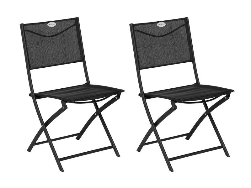 Lot de 2 chaises de jardin pliante métal modula gris anthracite / graphite - hesperide