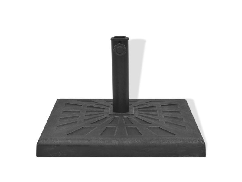 Pied socle base carrée de parasol résine noir 19 kg helloshop26 2202091