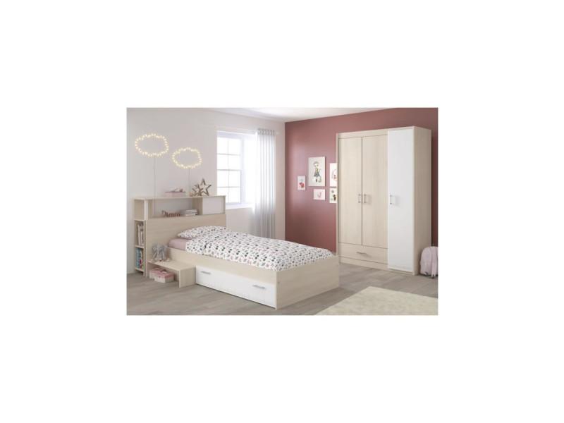 charlemagne chambre enfant complete tete de lit lit armoire style contemporain decor acacia clair et blanc