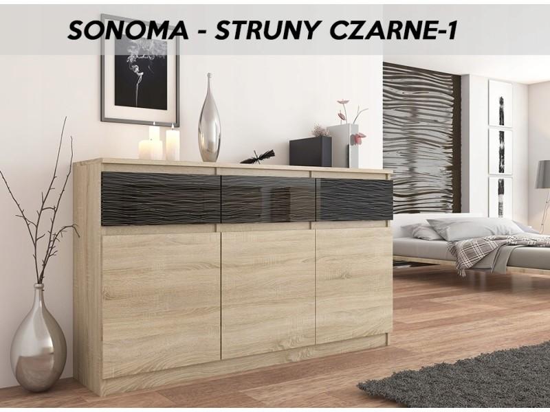 Riga i | commode contemporaine chambre salon bureau 40x120x98 cm | 3 tiroirs laqués | meuble de rangement | buffet séjour | sonoma/noir motifs