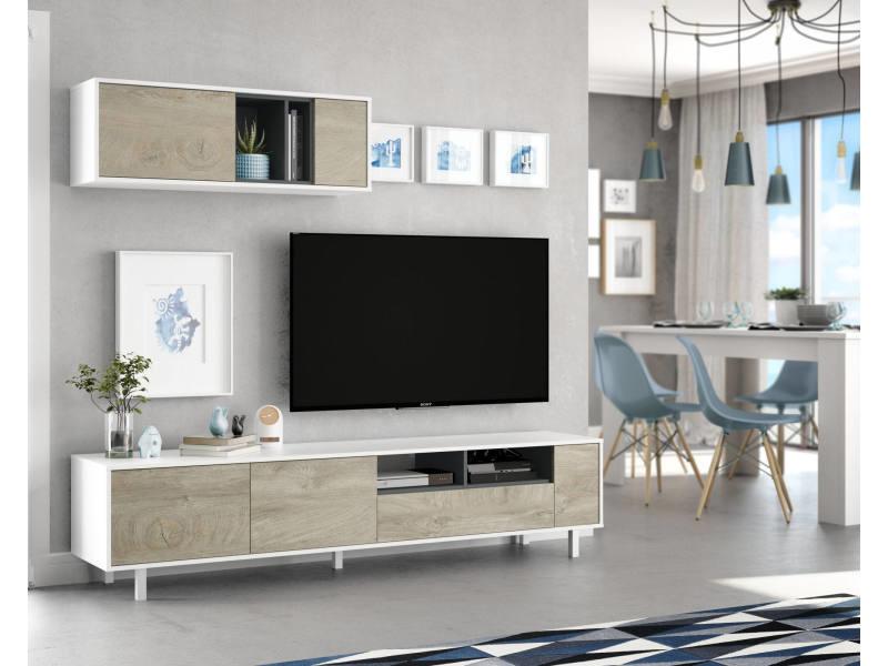 Meuble tv de salon, coloris chêne naturel et blanc brillant, 200 x 40 x 47 cm 8052773559355
