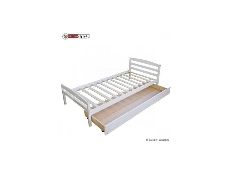 lit simple blanc 90x200 avec pied de lit et tiroir 1413 vente de lit enfant conforama. Black Bedroom Furniture Sets. Home Design Ideas