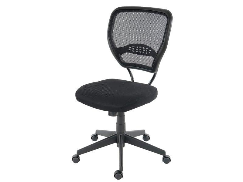Fauteuil chaise de bureau seattle charge 150kg tissu ~ noir sans
