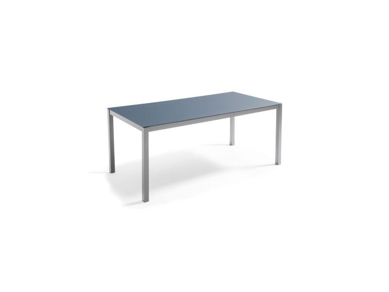 Table de jardin en alu plateau verre 8 places, ajaccio 8 places aluminium gris