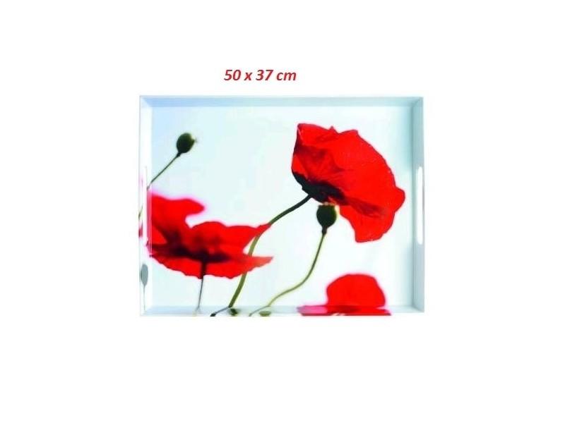 Plateau coquelicots 50 x 37 cm