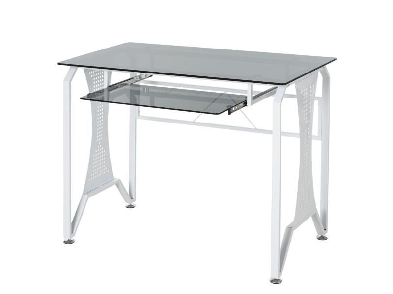 Table informatique bureau pour ordinateur avec clavier coulissant plateau verre trempé 100 x 54,5 x 75 cm gris et blanc