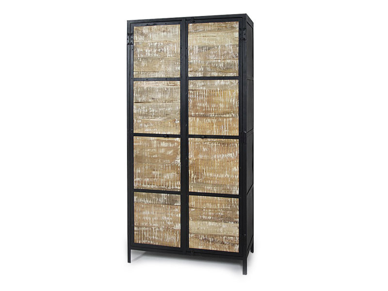 armoire industrielle vintage 2 portes en bois mim4367 bois blanchi vente de dressing conforama. Black Bedroom Furniture Sets. Home Design Ideas