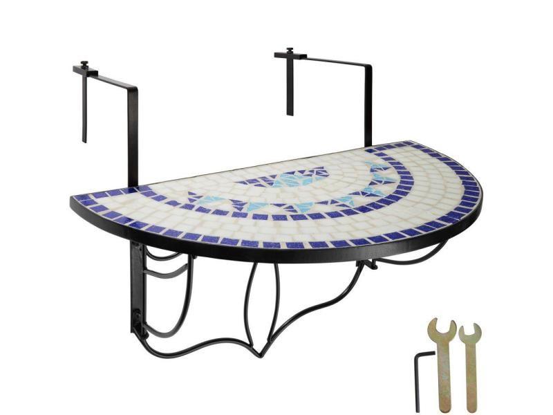Table de balcon rabattable blanc/bleu 76 cm helloshop26 2208252