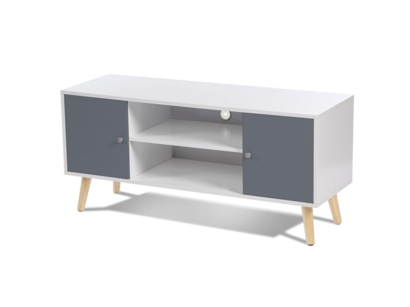 meuble tv effie scandinave bois blanc et gris vente de. Black Bedroom Furniture Sets. Home Design Ideas