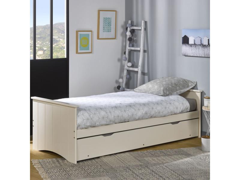 lit gigogne matelas 80x190 bois perle egig2780p mmls08g10 mmls08g10 vente de ebac conforama. Black Bedroom Furniture Sets. Home Design Ideas