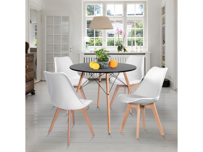 Ensemble table chaises 4 places scandinave noir table et blanche chaise plastique bois