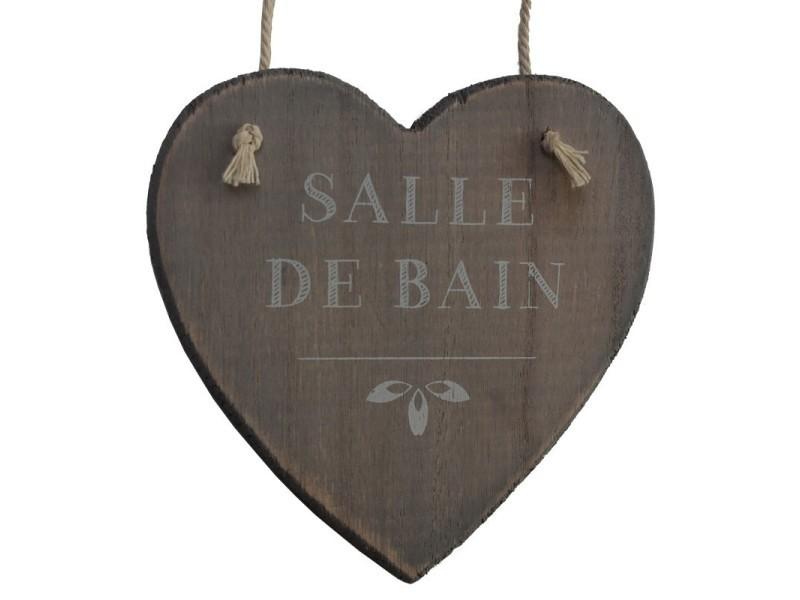 Plaque De Porte Salle De Bain Cœur Bois Corde 13 Cm 121205