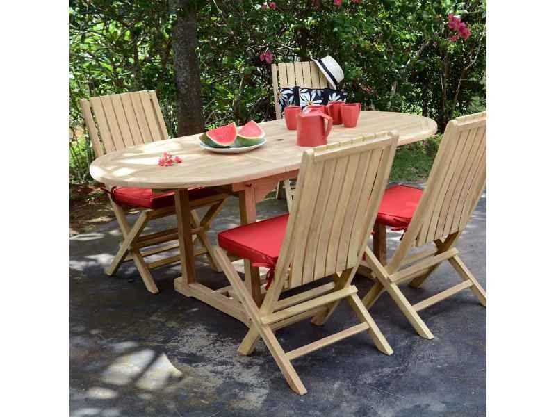 Salon de jardin en teck ecograde alizé, table 1.20 à 1,8 m + 4 ...