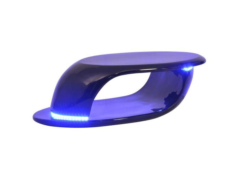 Vidaxl table basse avec lumière led fibre de verre noire 242777