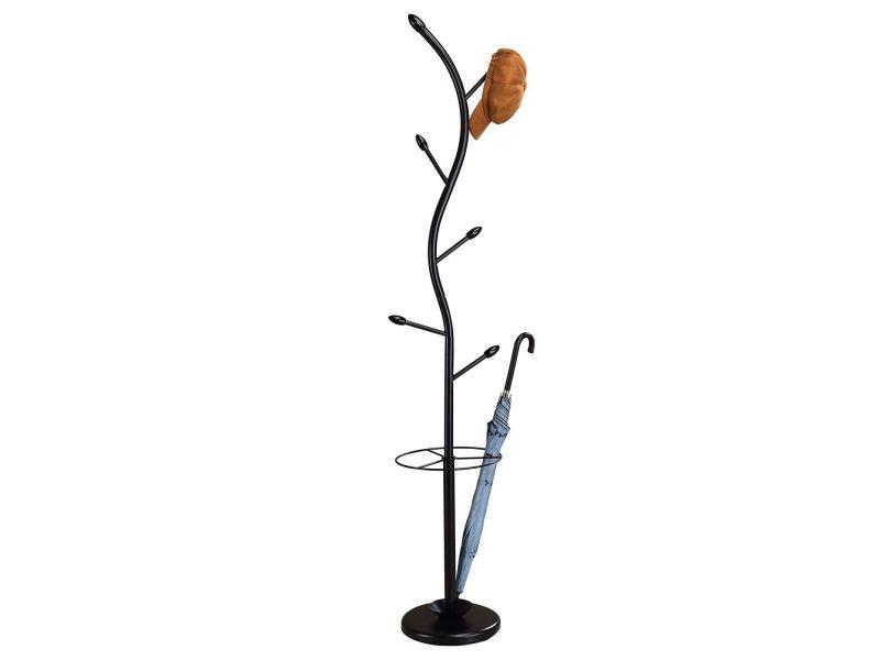 Porte-manteaux triana portant à vêtements sur pied en forme d'arbre avec 6 crochets et un porte parapluie, métal laqué noir et bois