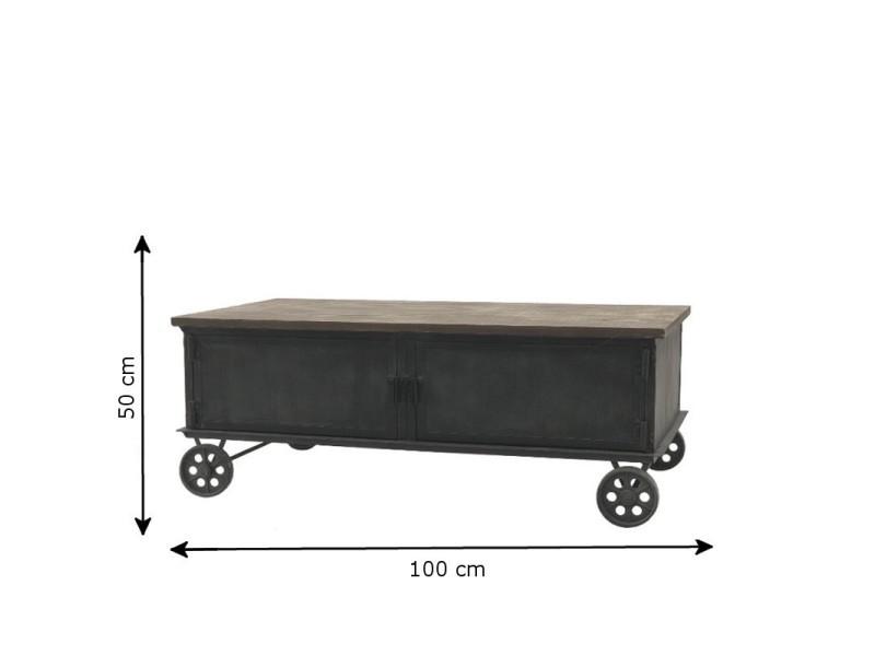 Style ancienne table de salon en fer bois roulettes 100 cm x 60 cm 14010-Table-Basse