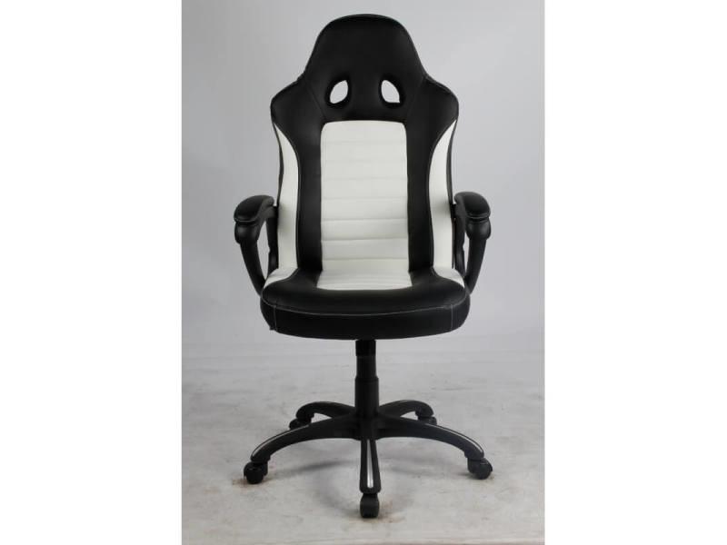 Fauteuil de bureau design en pu noir/blanc justin