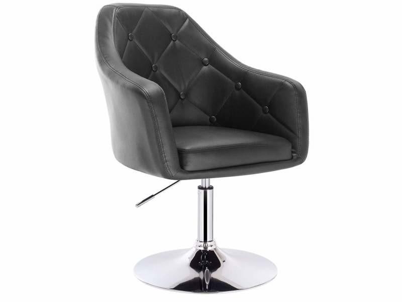 Fauteuil chaise lounge en simili cuir noir helloshop26 19_0000445