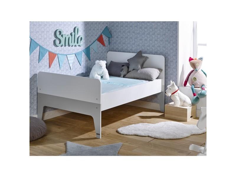 lit enfant volutif city blanc gris 90x140 200 vente de. Black Bedroom Furniture Sets. Home Design Ideas