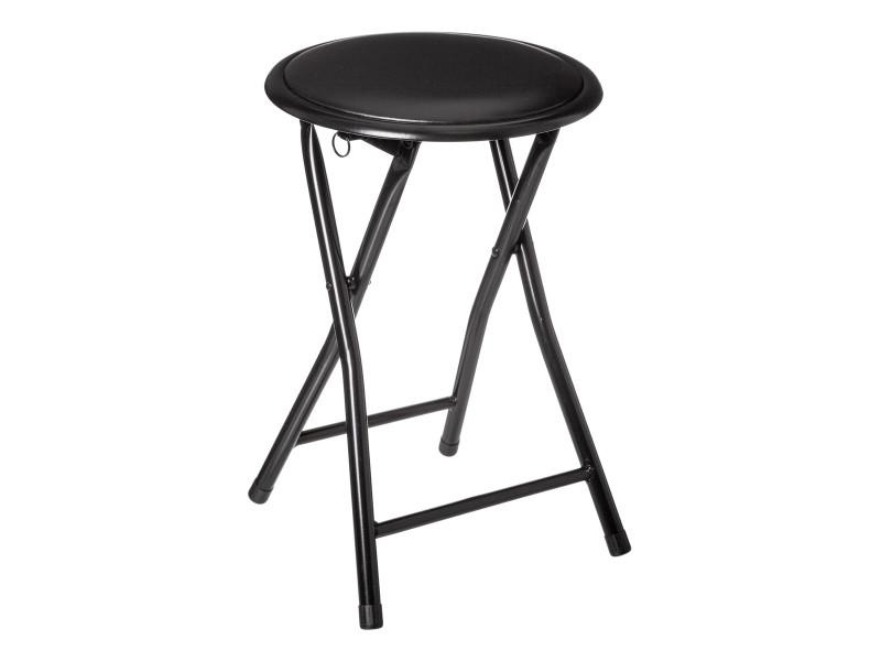 Tabouret pliant - basic - d 30 x h 45 cm - noir