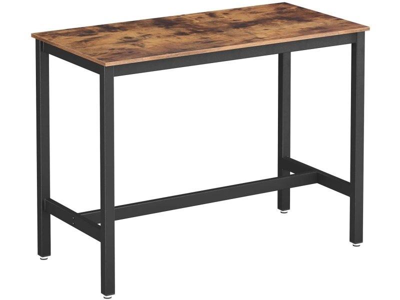 Table haute de bar polyvalente industriel métal noir et bois 120 x 60 cm helloshop26 12_0001032