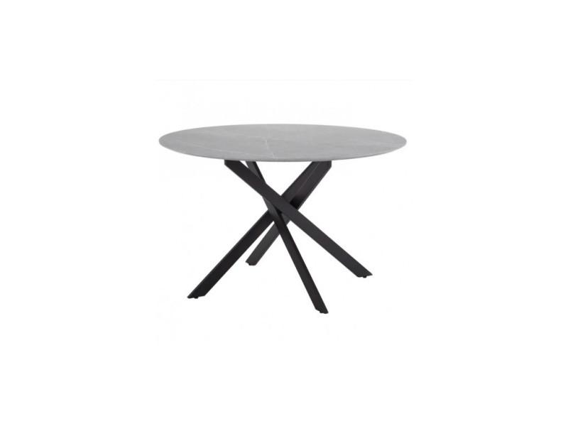 Table à manger design ronde aspect marbre/métal noir crystal