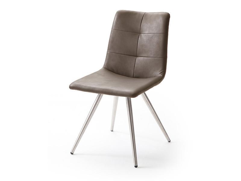 Chaise avec coutures en pu double piqure coloris trufée brillant satiné, pieds ronds acier brossé -pegane-