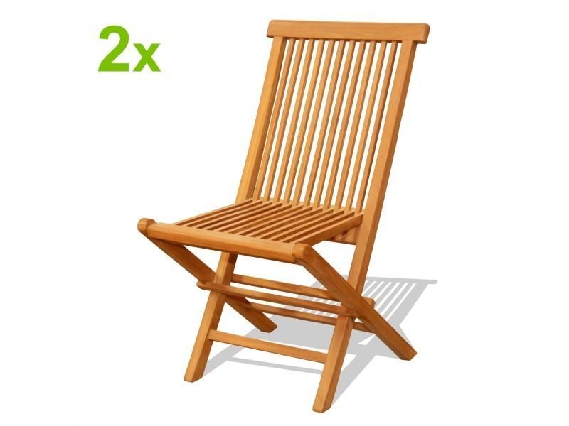 Lot de 2 chaises pliantes jardin teck massif brut 1441 - Vente de ...