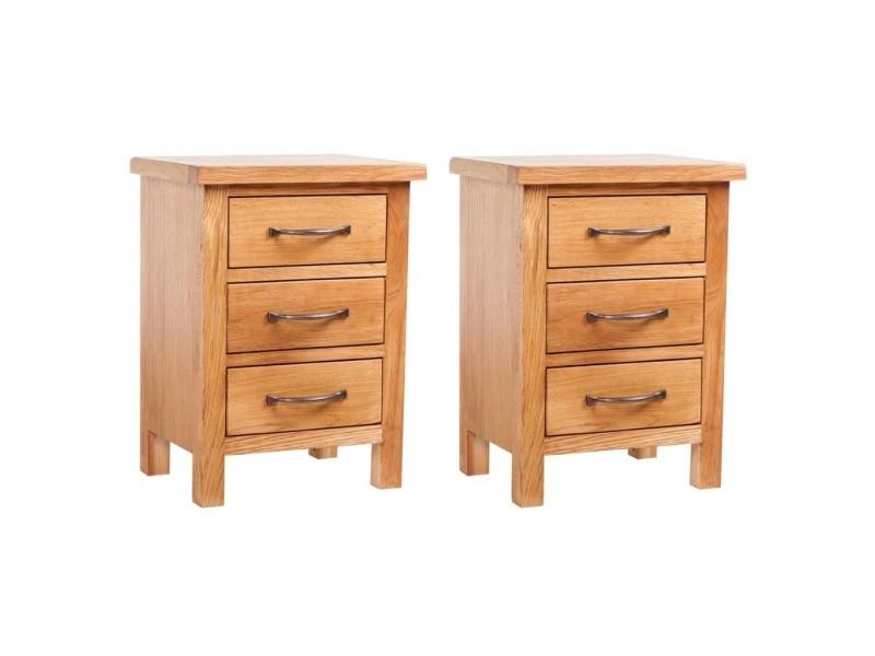 Vidaxl tables de chevet 2 pcs 40x30x54 cm bois de chêne massif 3053415
