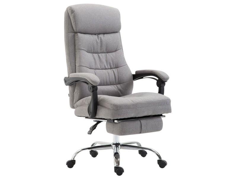 Fauteuil de bureau ergonomique en tissu gris clair avec repose